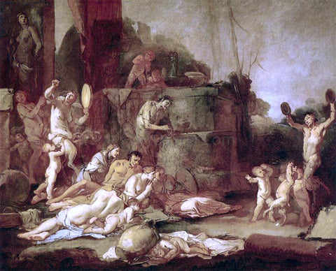 Giulio Carpioni Bacchanal - Hand Painted Oil Painting