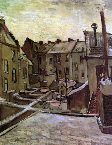 Vincent Van Gogh Backyards of Old Houses in Antwerp in the Snow - Hand Painted Oil Painting