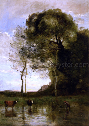 Jean-Baptiste-Camille Corot Banks of a Pond with Two Cows, Italian Souvenir - Hand Painted Oil Painting