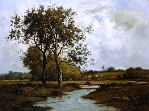 Leon Richet Banks of the River - Hand Painted Oil Painting