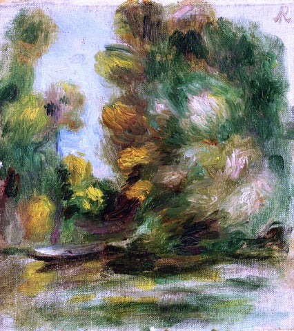 Pierre Auguste Renoir Banks of the River, a Boat - Hand Painted Oil Painting