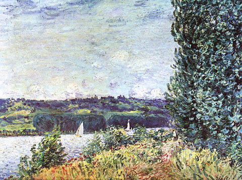 Alfred Sisley Banks of the Seine, Wind Blowing - Hand Painted Oil Painting