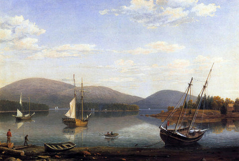 Fitz Hugh Lane Bar Island and Mt. Desert Mountains from Sommes Settlement - Hand Painted Oil Painting