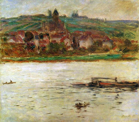 Claude Oscar Monet Barge on the Seine at Vertheuil (also known as Vetheuil) - Hand Painted Oil Painting