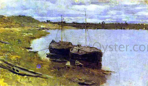 Isaac Ilich Levitan Barges. The Volga - Hand Painted Oil Painting