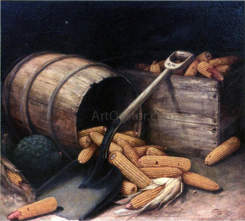 Alfred Montgomery Barrel and Box of Corn with Scoup - Hand Painted Oil Painting