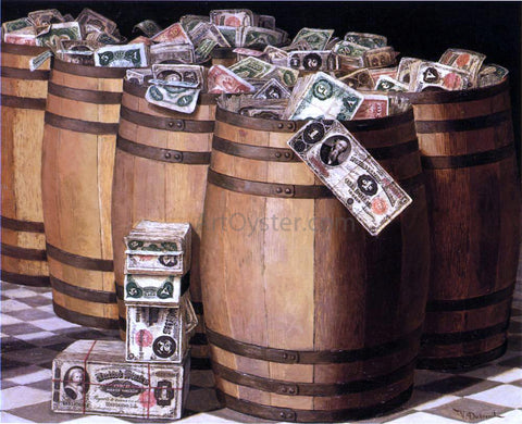 Victor Dubreuil Barrels on Money - Hand Painted Oil Painting