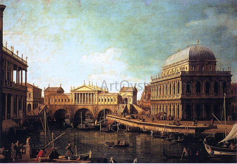 Canaletto Basilica di Vecenza and the Ponte de Rialto - Hand Painted Oil Painting