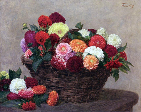 Henri Fantin-Latour Basket of Dahlias - Hand Painted Oil Painting