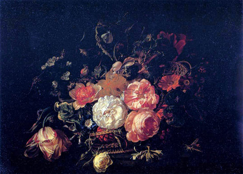 Rachel Ruysch Basket of Flowers - Hand Painted Oil Painting