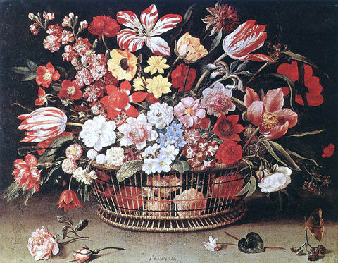 Jacques Linard Basket of Flowers - Hand Painted Oil Painting