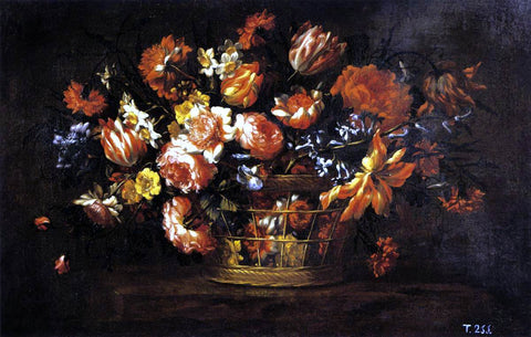 Bartolome Perez Basket of Flowers - Hand Painted Oil Painting
