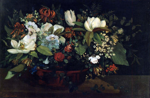 Gustave Courbet Basket of Flowers - Hand Painted Oil Painting