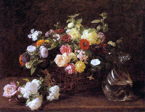 Henri Fantin-Latour Basket of Flowers - Hand Painted Oil Painting