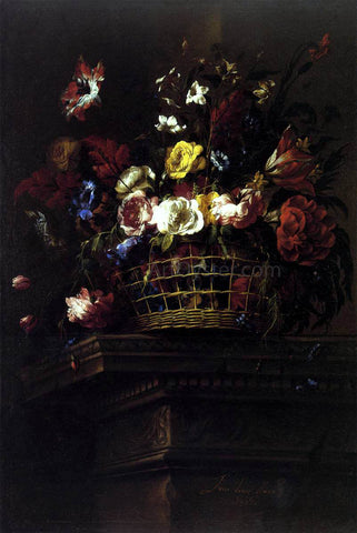 Juan De Arellano Basket of Flowers on a Plinth - Hand Painted Oil Painting
