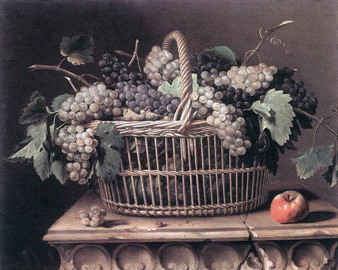 Pierre Dupuys Basket of Grapes - Hand Painted Oil Painting
