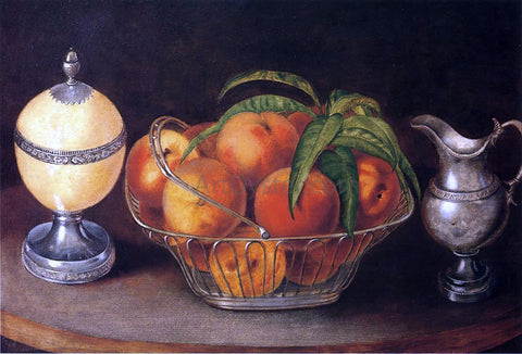 Rubens Peale Basket of Peaches with Ostrich Egg and Cream Pitcher - Hand Painted Oil Painting