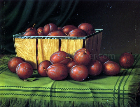 Levi Wells Prentice Basket of Plums - Hand Painted Oil Painting