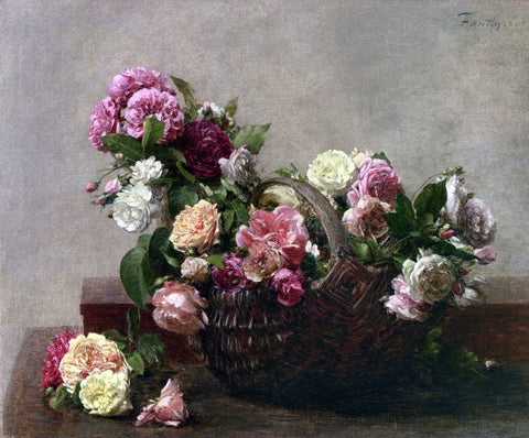Henri Fantin-Latour Basket of Roses - Hand Painted Oil Painting