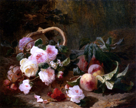 Pierre Bourgogne Basket of Roses and Fruits - Hand Painted Oil Painting