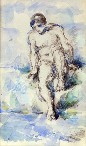 Paul Cezanne Bather Entering the Water - Hand Painted Oil Painting