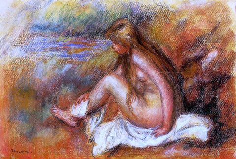Pierre Auguste Renoir Bather Seated by the Sea - Hand Painted Oil Painting