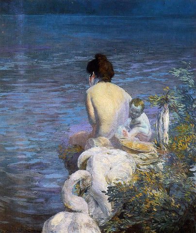 Paul Albert Besnard Bather with Child and Swan by the Sea - Hand Painted Oil Painting