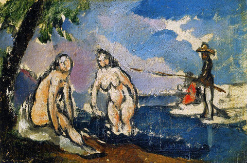 Paul Cezanne Bathers and Fisherman with a Line - Hand Painted Oil Painting