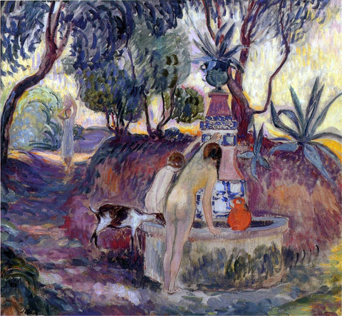 Henri Lebasque Bathers at a Fountain in Saint Tropez - Hand Painted Oil Painting
