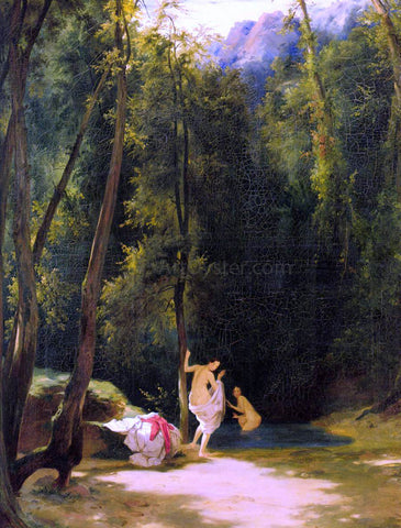 Carl Blechen Bathers in Terni Park - Hand Painted Oil Painting