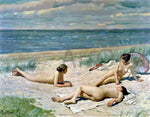 Paul-Gustave Fischer Bathers on a Beach - Hand Painted Oil Painting