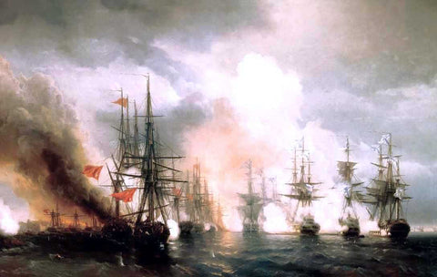 Ivan Constantinovich Aivazovsky Battle near Sinop (during daylight hours version) - Hand Painted Oil Painting