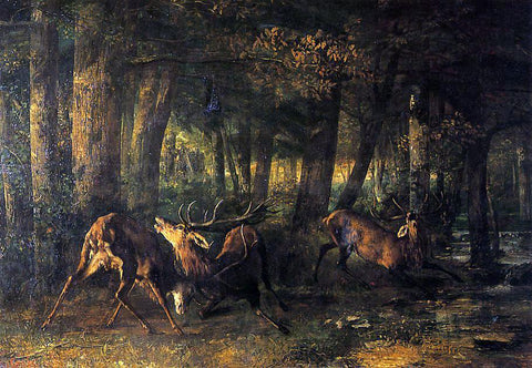 Gustave Courbet The Battle of the Stags - Hand Painted Oil Painting