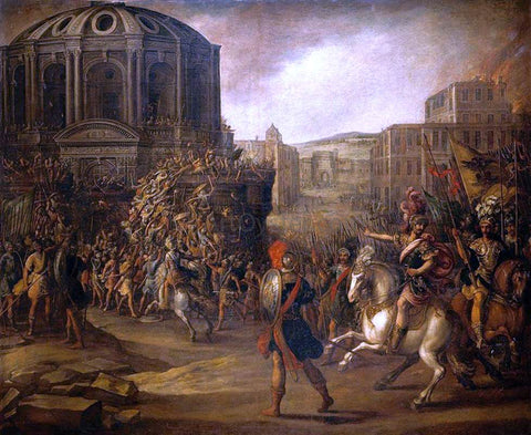 Juan De la Corte Battle Scene with a Roman Army Besieging a Large City - Hand Painted Oil Painting