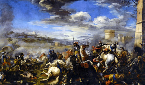Jacques Courtois Battle Scene with Infantry Cavalry and Cannon - a Fortress and a City Beyond - Hand Painted Oil Painting