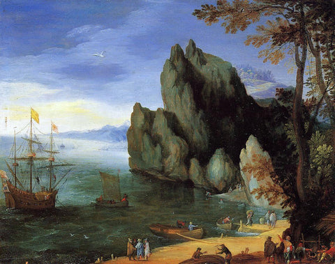 The Elder Jan Bruegel Bay with Ship of War - Hand Painted Oil Painting
