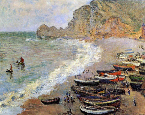 Claude Oscar Monet Beach at Etretat - Hand Painted Oil Painting