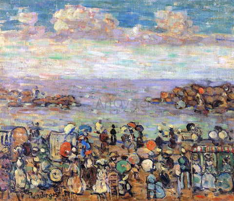 Maurice Prendergast Beach at St. Malo - Hand Painted Oil Painting