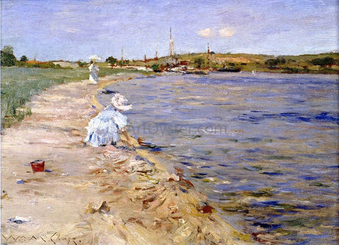 William Merritt Chase Beach Scene - Morning at Canoe Place - Hand Painted Oil Painting