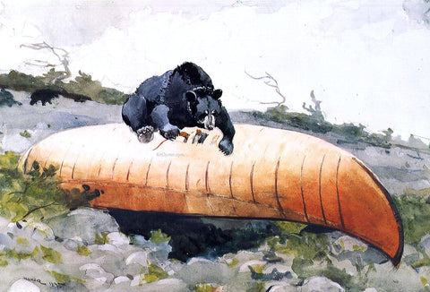 Winslow Homer Bear and Canoe - Hand Painted Oil Painting