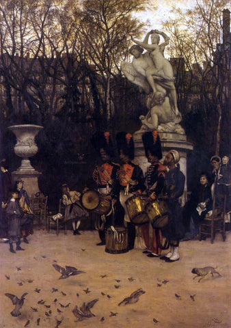 James Tissot Beating the Retreat in the Tuilleries Gardens - Hand Painted Oil Painting