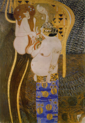 Gustav Klimt A Beethovan Frieze Detail - Hand Painted Oil Painting