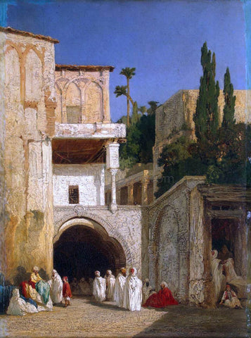 Alexandre Gabriel Decamps Before a Mosque - Hand Painted Oil Painting