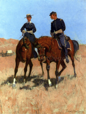 Frederic Remington Belle McKeever and Lt. Edgar Wheelock - Hand Painted Oil Painting