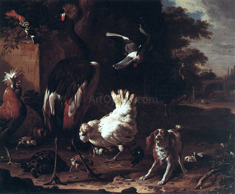 Melchior D'Hondecoeter Birds and a Spaniel in a Garden - Hand Painted Oil Painting