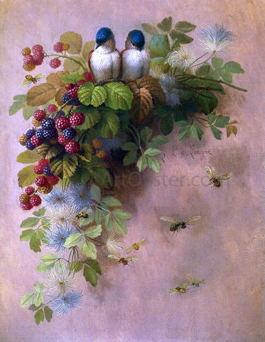 Raoul Paul Maucherat De Longpre Birds, Bees and Berries - Hand Painted Oil Painting