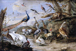 Jan Van I Kessel Birds on a Riverbank - Hand Painted Oil Painting