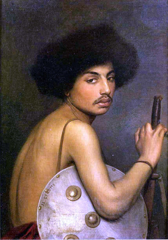 Jean-Leon Gerome Bishari, Bust of a Warrior - Hand Painted Oil Painting