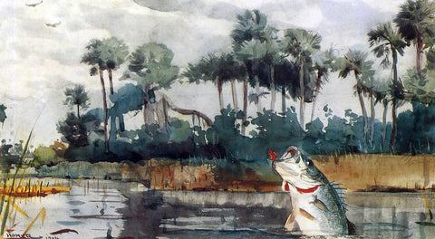 Winslow Homer Black Bass, Florida - Hand Painted Oil Painting