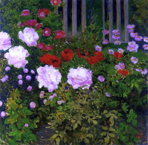 Koloman Moser Blooming Flowers with Garden Fence - Hand Painted Oil Painting
